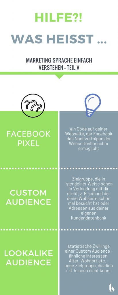 Infografik Facebook Pixel, Custom Audience, Lookalike Audience