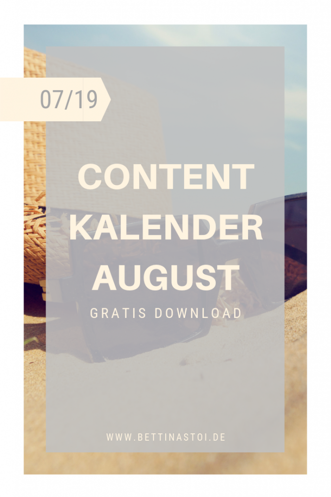 Cover Content Kalender August