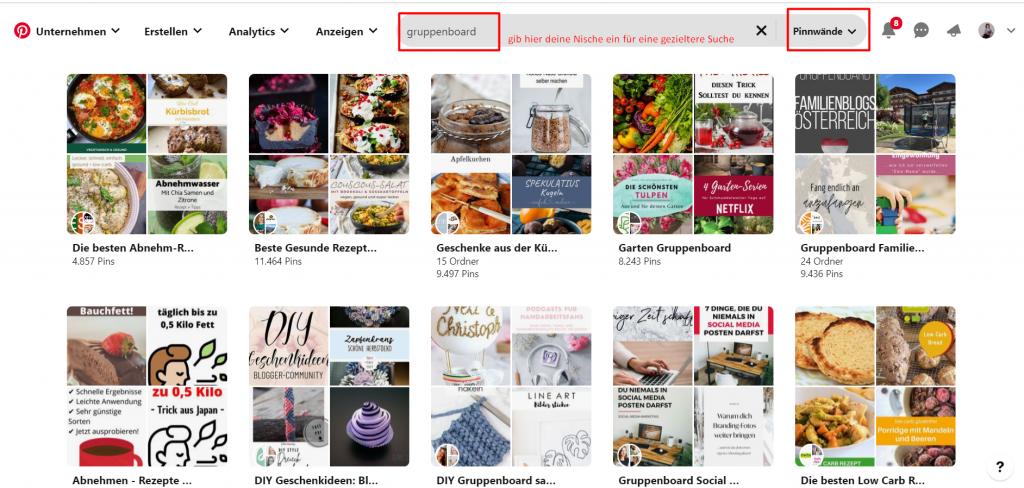 Screenshot Pinterest Gruppenboards