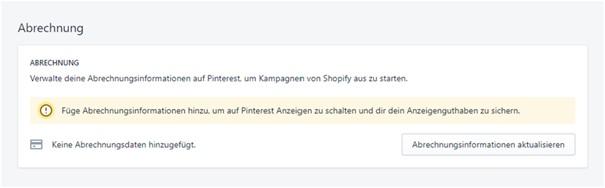 Pinterest Shopify App Abrechnungsinfos