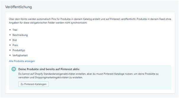 Pinterest Shopify App Katalogstatus