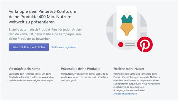Pinterest Shopify App Konto verknüpfen
