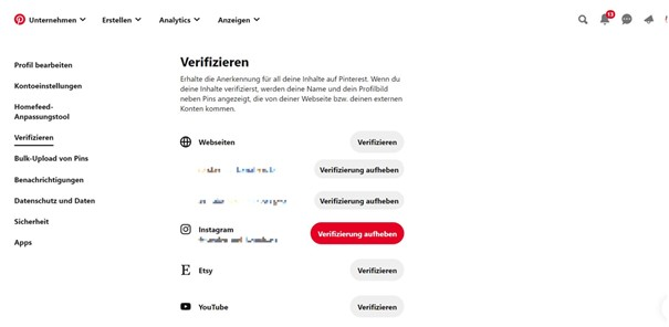 Pinterest Webseite verifizieren
